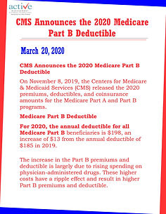 CMS Announces the 2020 Medicare Part B Deductible