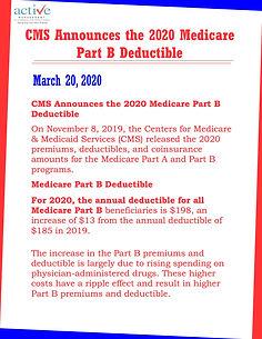 CMS Announces the 2020 Medicare Part B Deductible
