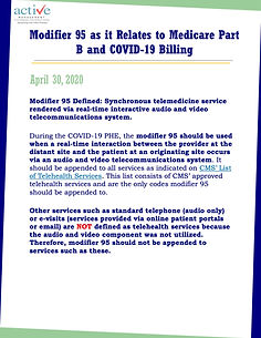 Modifier 95 as it Relates to Medicare Part B and COVID-19 Billing