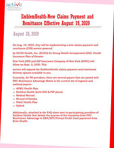EmblemHealth-New Claims Payment and Remittance Effective August 19, 2020