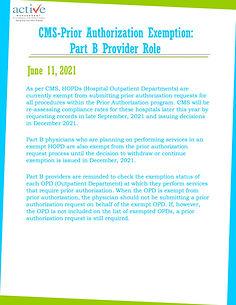 CMS-Prior Authorization Exemption: Part B Provider Role