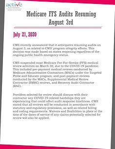 Medicare FFS Audits Resuming August 3rd