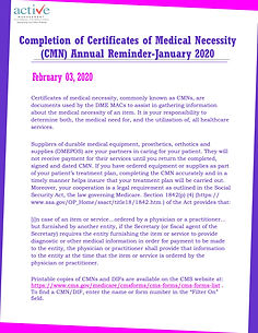 Completion of Certificates of Medical Necessity (CMN) Annual Reminder-January 2020