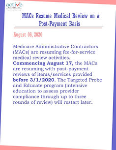 MACs Resume Medical Review on a Post-Payment Basis