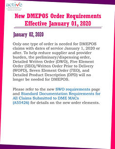 New DMEPOS Order Requirements Effective January 01, 2020