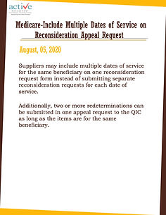 Medicare-Include Multiple Dates of Service on Reconsideration Appeal Request