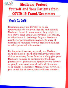 Medicare-Protect Yourself and Your Patients from COVID-19 Fraud/Scammers
