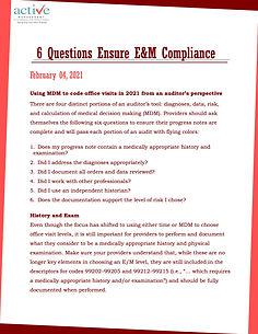 6 Questions Ensure E&M Compliance