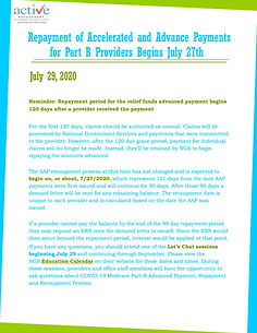 Repayment of Accelerated and Advance Payments for Part B Providers Begins July 27th