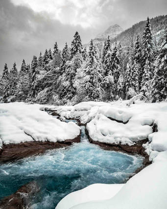 Blue river in winter, Bavaria, Germany