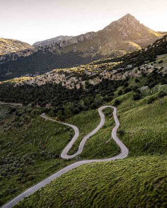 Winding road leading to Sa Calobra, Mallorca, Spain