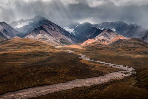 Winding river in Denali National Park, Alaska