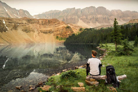 Hiking break at Fish Lakes, Banff National Park, Alberta, Canada