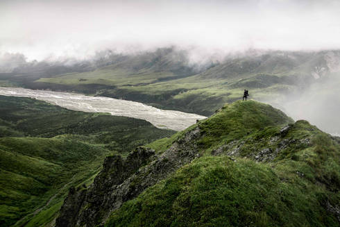 Epic view of riverbed whil backcountry hiking in Denali National Park, Alaska