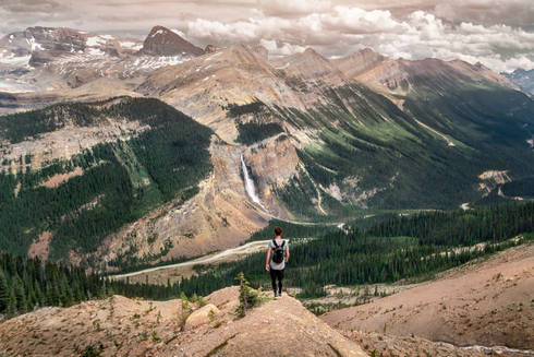 Hiking the Iceline Trail and watching the Takakkaw Falls, Yoho National Park, Canada