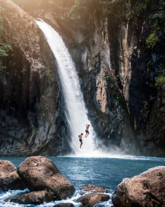 Cliff jumping from waterfall, Biliran, Philippines