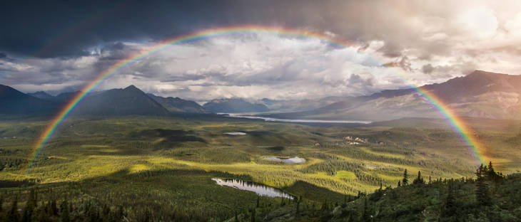 Full Rainbow over Wrangell St. Elias National Park, Alaska