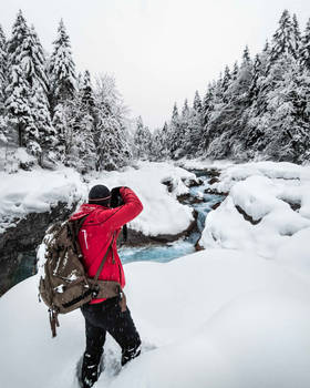 Photo expidition in winter, Bavaria, Germany