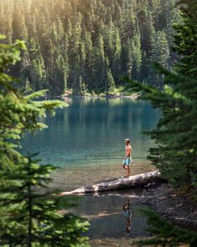 Swimming at Molwich Lake, Mount Rainier National Park, Washington