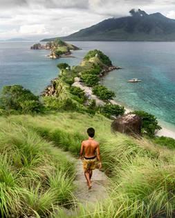 Local filipino at viewpoint on Sambawan Island, Philippines