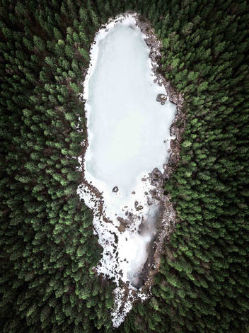 Drone shot of frozen Frillensee, Germany