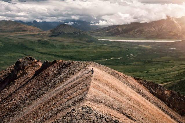 Hiking at Skookum Volcano in Wrangell St. Elias National Park, Alaska