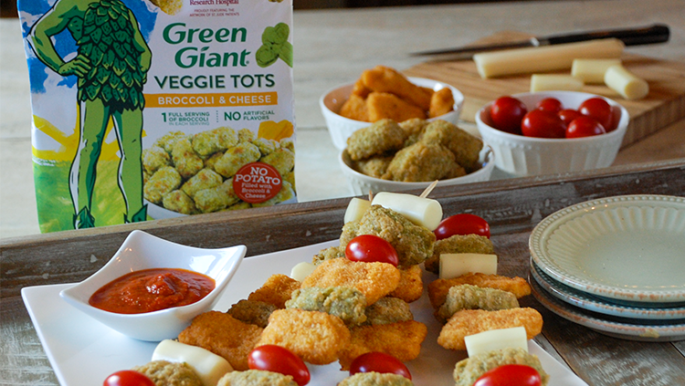 Picnic Table Chicken and Broccoli Tot Kabobs