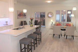 Townhome Contemporary Kitchen Living and