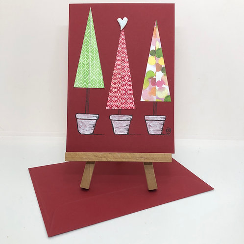 Carte 3 sapins rouge