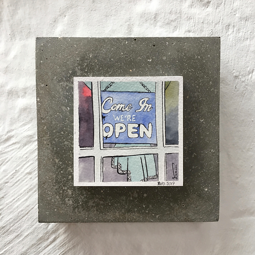 Open - Aquarelle sur béton