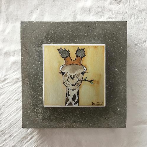Girafe - Aquarelle sur béton