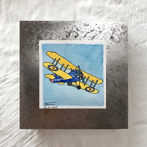 Avion - Aquarelle sur acier
