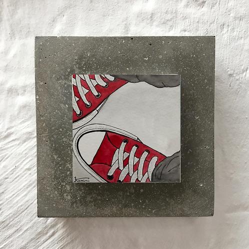Baskets - Aquarelle sur béton