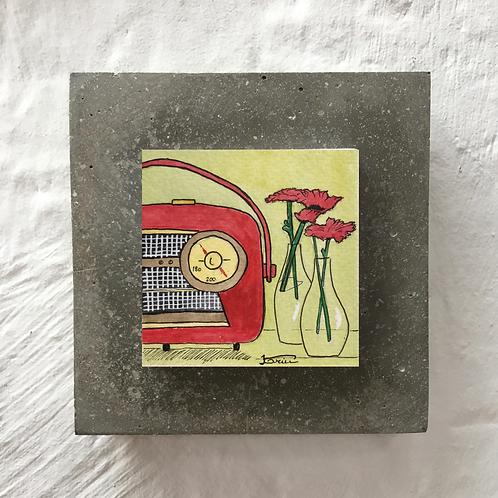 Radio rouge - Aquarelle sur béton