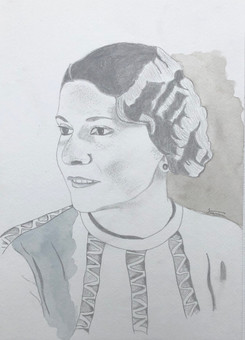 Ma grand-mère, aquarelle et crayon