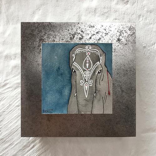 Eléphant - Aquarelle sur acier