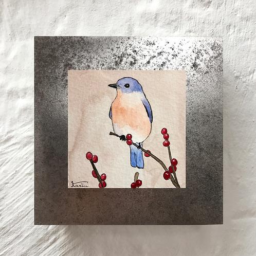 Oiseau - Aquarelle sur acier