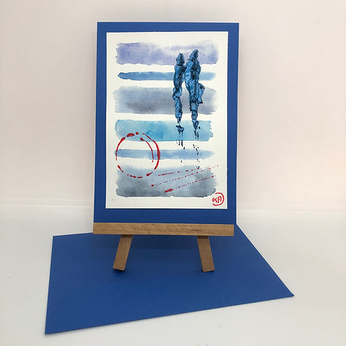 Carte silhouettes bleue