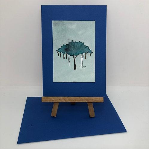 Carte arbres bleue