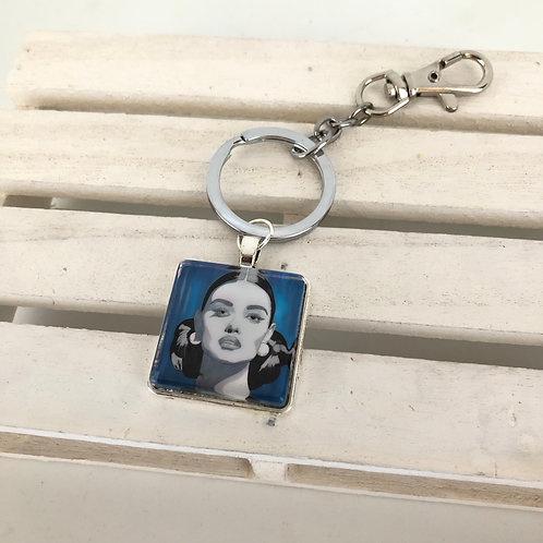 Porte-clés Femme bleue