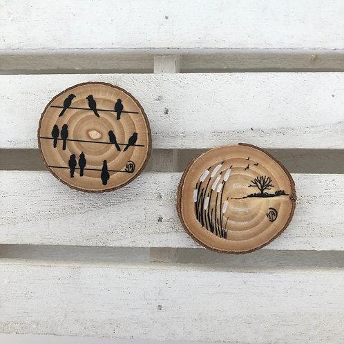 Magnets roseaux-oiseaux