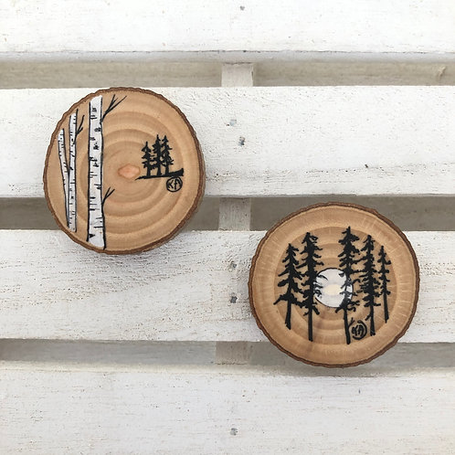 Magnets bouleaux-sapins