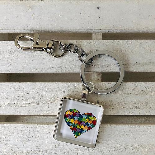 Porte-clés coeur puzzle