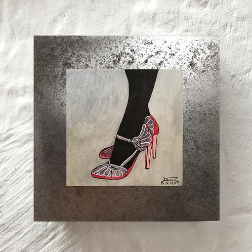 Chaussures- Aquarelle sur acier
