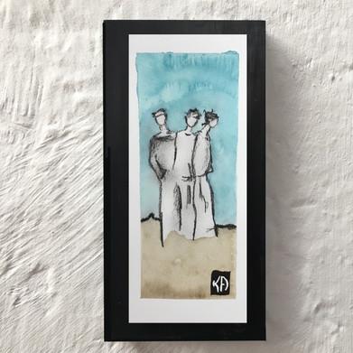 Aquarelle et fusain, 7x18