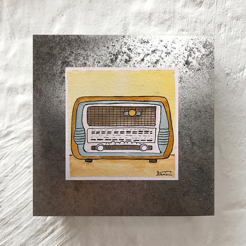 Radio - Aquarelle sur acier