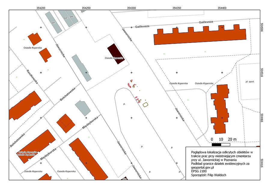 mapa poglądowa - cmentarz przy Jawornick