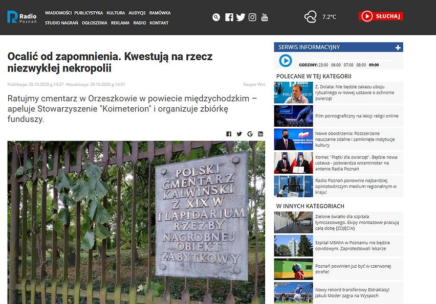 Zrzut ekranu ze strony Radia Poznań: tytuł artykułu: Ocalić od zapomnienia. Kwestują na rzecz niezwykłej nekropolii