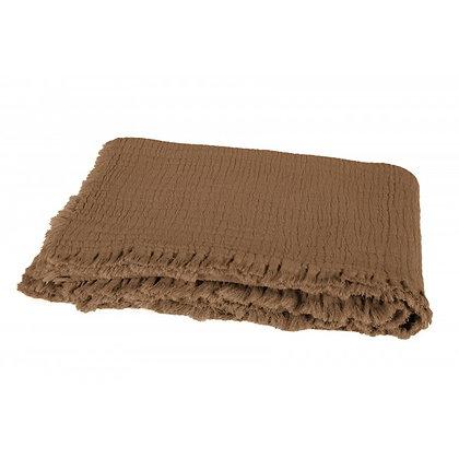 Plaid à franges en coton lavé TABAC   HARMONY TEXTILE