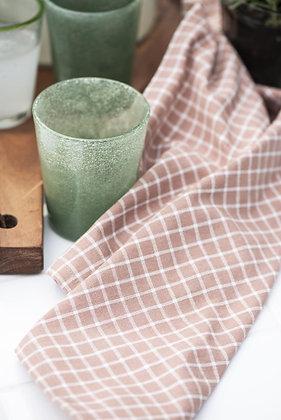 Torchon imprimé motif trame blanc et vieux rose | IB LAURSEN